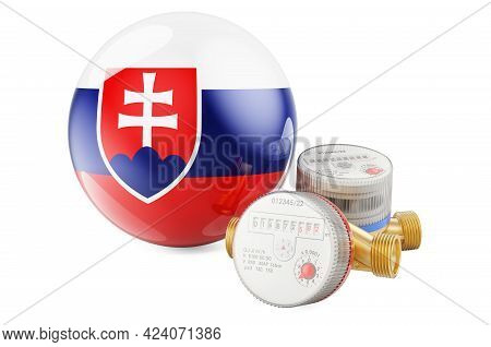 Water Consumption In Slovakia. Water Meters With Slovak Flag. 3d Rendering Isolated On White Backgro
