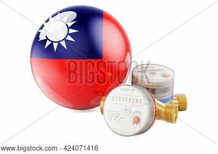 Water Consumption In Taiwan. Water Meters With Taiwanese Flag. 3d Rendering Isolated On White Backgr