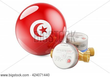 Water Consumption In Tunisia. Water Meters With Tunisian Flag. 3d Rendering Isolated On White Backgr