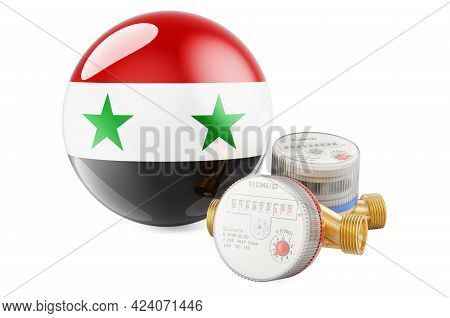 Water Consumption In Syria. Water Meters With Syrian Flag. 3d Rendering Isolated On White Background