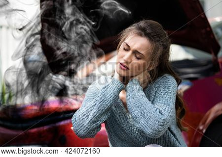 Neck Pain After Car Accident. Injury Claim And Stress