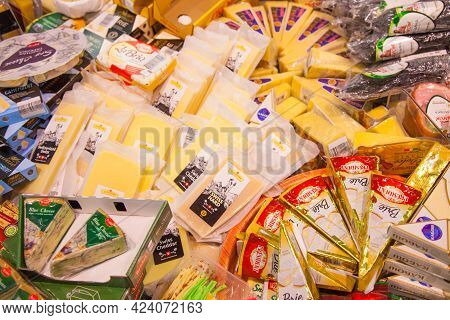 Kaliningrad, Russia - November 18, 2020: Cheese On Shelves Of Local Russian Supermarket.