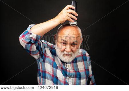 Gray Senior Man Hair Clippings. Bald Man Hairclipper, Mature Baldness And Hair Loss Concept.
