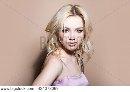 Woman Face. Portrait Of Sensual Young Female Model.