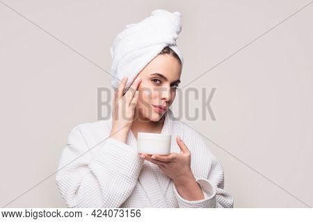 Woman Skin Care Concept. Cosmetology, Beauty And Spa. Skincare Products.