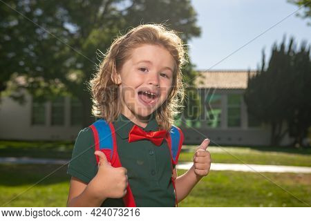 Funny Nerd Kid. Back To School And Schooling. Little Schoolboy Pupil Back To School At Knowledge Day