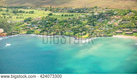 Broad Panorama Of Beach In Hawaii, Aerial View Over The Ocean On West Coast Of Maui, Hawaii.
