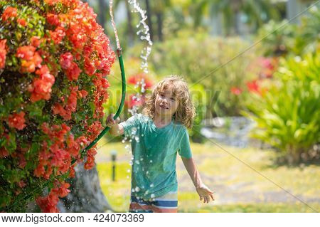 Child Boy Watering The Plants, From Hose Spray With Water Hose In The Garden At The Backyard Of The