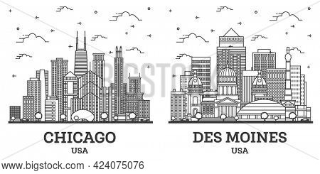Outline Des Moines Iowa and Chicago Illinois USA City Skyline Set with Modern Buildings Isolated on White. Cityscape with Landmarks.