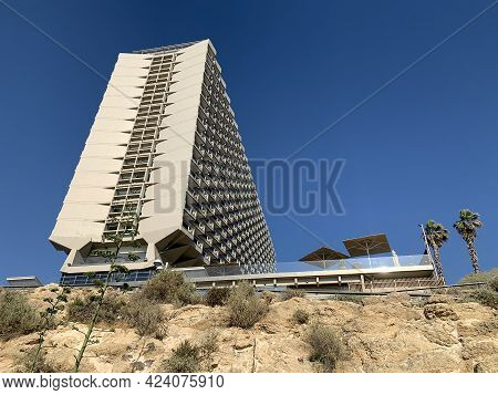 Tel Aviv, Israel - May 25, 2020: View Of The Hilton Hotel In Tel Aviv On The High Coast Of The Medit