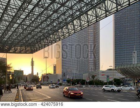 Tel Aviv, Israel - May 25, 2020: Modern Skyscrapers On The Street Hashalom In Tel-aviv On Background