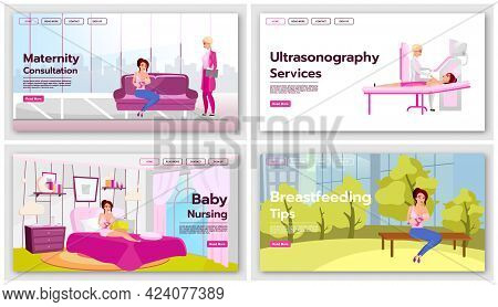 Motherhood And Childcare Landing Page Template Set. Breastfeeding Website Interface Idea With Flat I