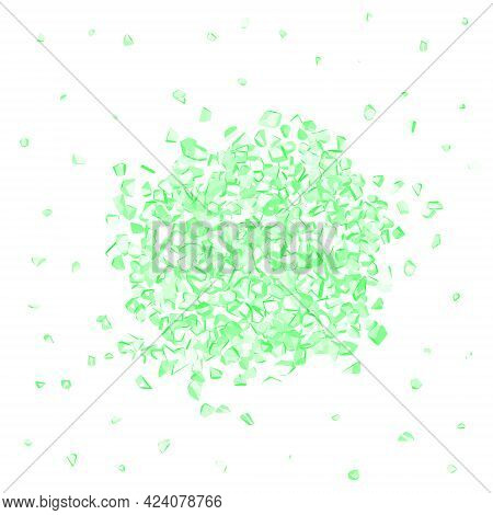 Heap Of Green Gems Isolated On White Background. Vector Illustration