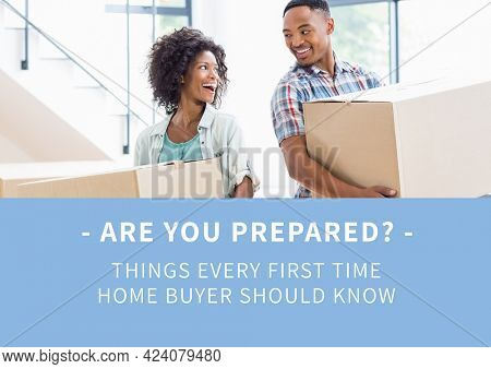 Composition of first time home buyer text in white, with happy couple holding boxes, on blue. property and finance guide design template concept digitally generated image.
