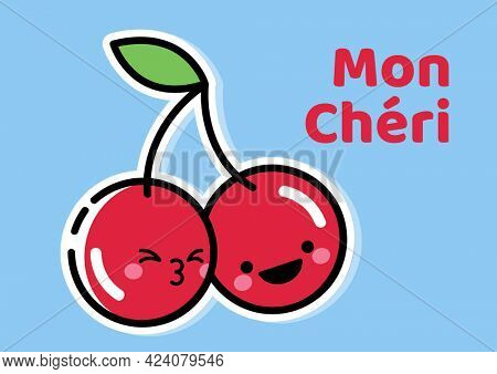 Composition of mon cheri text with smiling cherries on blue background. fruit, colour and humour concept digitally generated image.