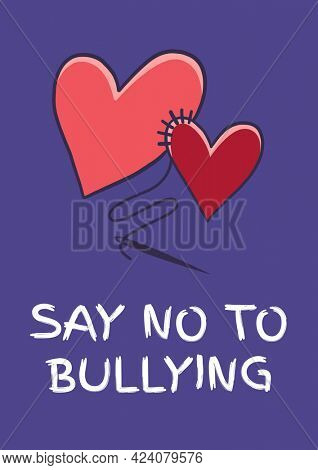 Composition of anti bullying text with two hearts on purple background. childhood, bullying and social issues concept digitally generated image.