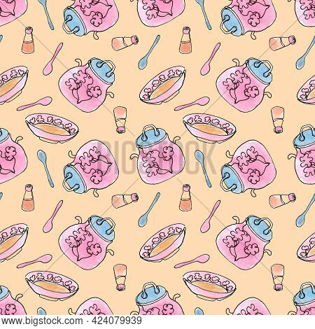 Seamless Pattern With Kitchen Utensils. Crockery And Cutlery. Plate, Saucepan, Condiments And Spoons