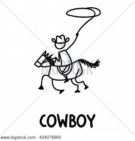 Black And White Drawn Stick Figure Of Cowboy Horseback Rider Text. Wild Masculine Stallion For Monoc