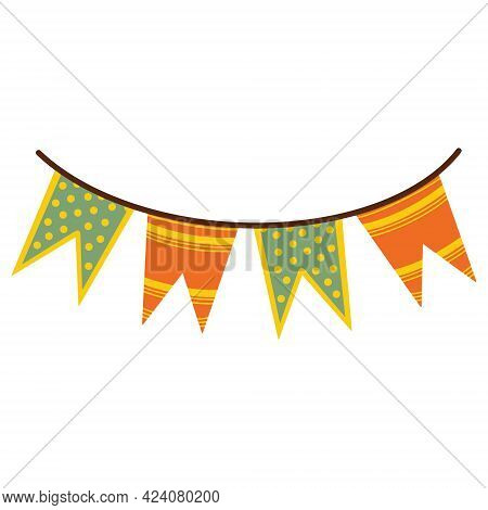 Festive Garland Vector Icon. Cute Banner. Isolated Illustration On A White Background. Decorative Pr