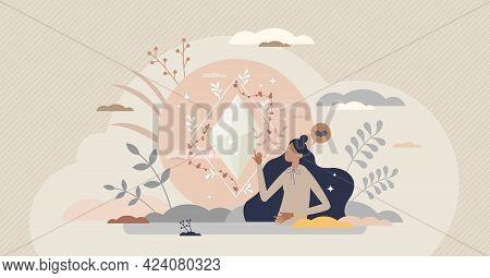 Holistic Health As Overall Body Care Or Spiritual Balance Tiny Person Concept. Wellness And Awarenes