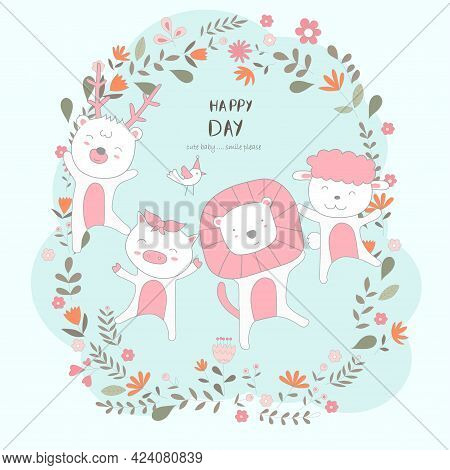 The Cute Baby Animal Happy To Everyday. Cartoon Sketch Animal Style