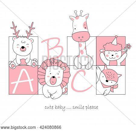 The Cute Animal Cartoon In Frame. Hand Drawn Cartoon Style