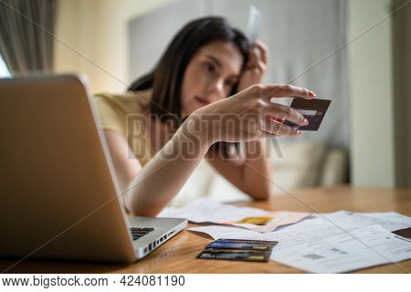 Depressed Desperate Caucasian Beautiful Girl Feeling Worried About Financial Problem. Stressed Young