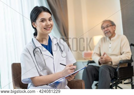 Portrait Of Caucasian Beautiful Psychology Doctor Smile, Look At Camera After Give Medical Treatment