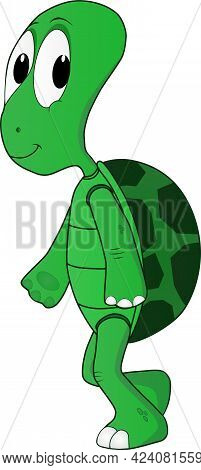 Cartoon Illustration Of A Friendly Turtle Walking On A Sunny Day