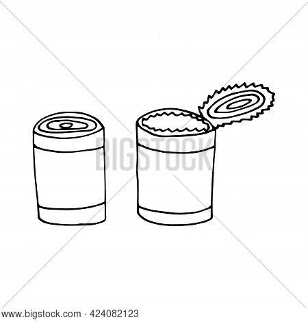 Tin Can Set Icon. Hand Drawn Doodle. Vector, Scandinavian, Nordic, Minimalism Monochrome Camp Canned