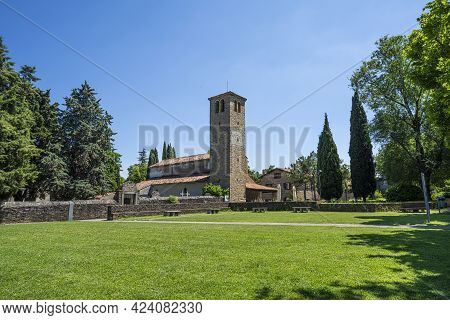 Muggia, Italy. June 13, 2021 View Of The Church Of St. Mary Assunta In The Old Muggia Archaeological