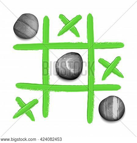 Hand Drawn Tic Tac Toe Game With Stones And Oil Paint Strokes T Shirt Print