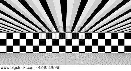Black And White Interior Illustrations Corridor Background. Ceiling, Checkered Wall, And Floor.
