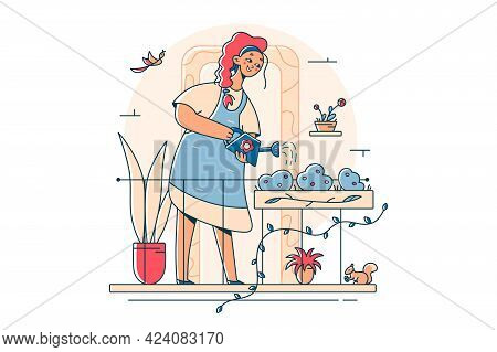 Woman Gardener Watering Gardens Flowers Vector Illustration. Girl On Balcony Takes Care Of Plants Fl