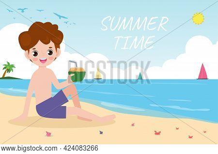Summer Time Banner Template, Man Eating Coconut Sitting On The Beach, Summertime, Relaxing Children