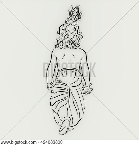 The Great Lord Krishna Walking Illustration With White Background