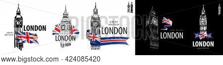 Set Of Vector Drawings Of Big Ben In London On A White Background