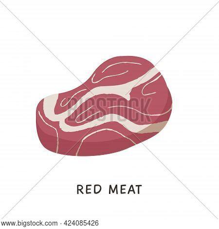 Raw Meat Product Flat Vector Illustrations. Hand Drawn Pork Slice And Beef Steak Isolated Clipart On