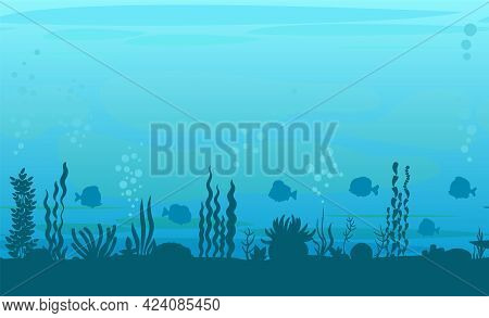 Bottom Of Reservoir With Fish. Silhouette. Blue Water. Sea Ocean. Underwater Landscape With Animals,
