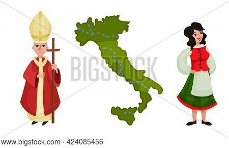 Italy Country Symbols With Supreme Pontiff, Woman Wearing National Clothing And State Boundaries Vec