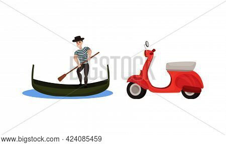 Italy Country Symbols With Gondolier With Paddle On Boat And Scooter Vector Set