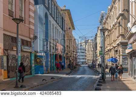 View Of The Streets In The Historic Center Of Valparaiso, Chile