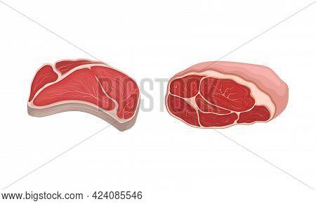 Meat With Tenderloin Slabs As Foodstuff From Butchery Vector Set