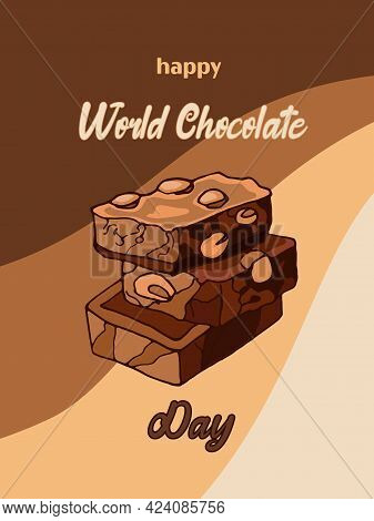 Appetizing Pieces Of Milk Chocolate With Nuts. Vector Illustration Of Dessert Food In Vintage Style.