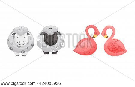 Salt And Pepper Shaker Or Pot As Ceramic Shaped Condiment Dispenser Vector Set