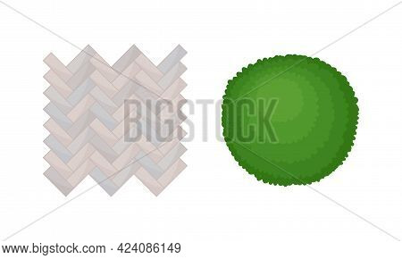 Bush Growth And Flagstone Pavement As Landscape Elements Above View Vector Set