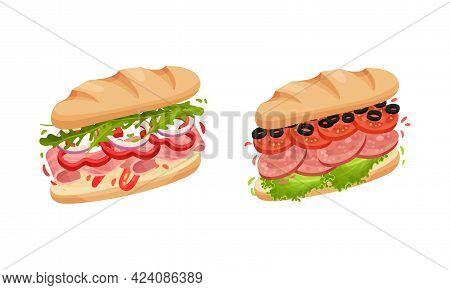 Sandwich With Ingredient Layers Between Bread Slices Vector Set