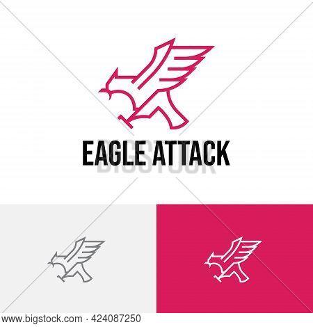 Eagle Hawk Falcon Attack Fly Wing Claw Line Logo