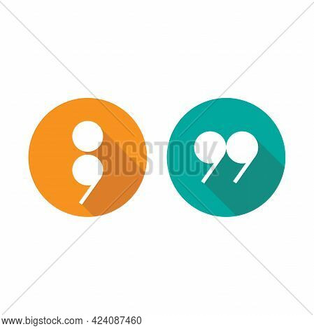 White Semicolon, Comma And Qoutation Mark Icons Set Isolated On White. Flat Punctuation Isigns. Vect
