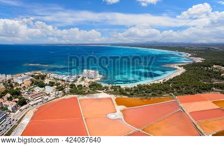 Aerial View Of Salines De S'avall And Es Trenc Beach, Colonia De Sant Jordi, Mallorca Island, Spain